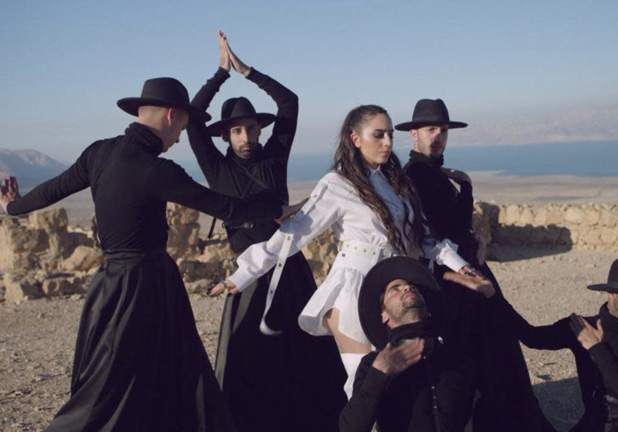 Armenia's Srbuk dances at Masada in her postcard video. (KAN)