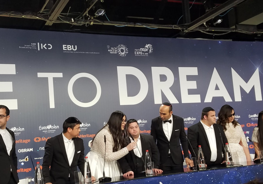 The Shalva Band hold a press conference at the Eurovision on Wednesday.