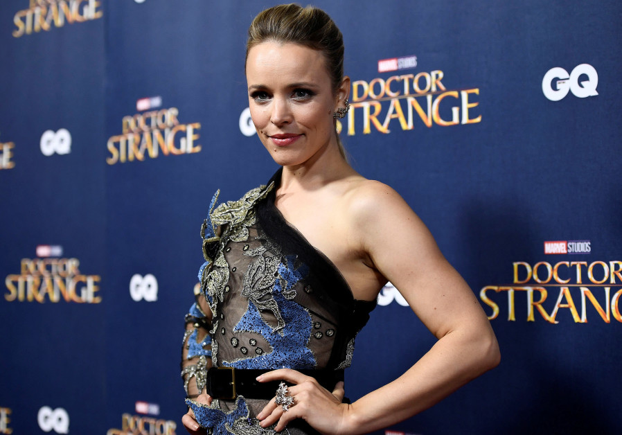 "Rachel McAdams poses, launch event of ""Doctor Strange,"" Westminster Abbey in London, 2016."