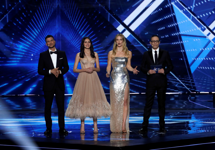 Hosts of the 2019 Eurovision grand finale, Erez Tal, Assi Azar and Lucy Ayoub