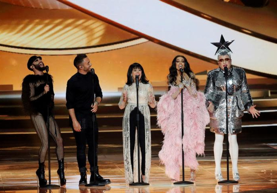 Conchita Wurst, Måns Zelmerlöw, Gali Atari, Eleni Foureira and Verka Serduchka perform at Eurovision