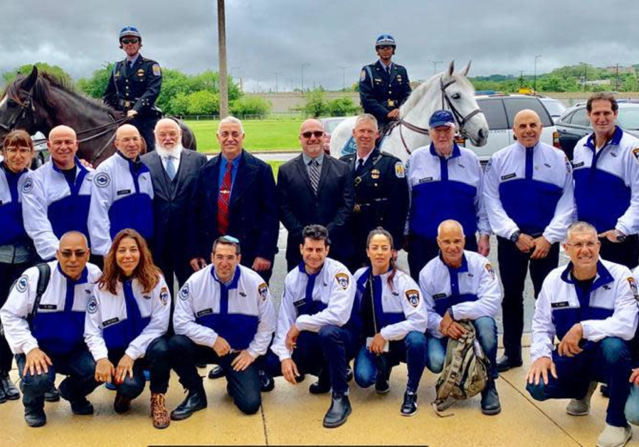 Members of the Police Unity Tour and their Israeli counterparts at the Beit Shemesh police academy M