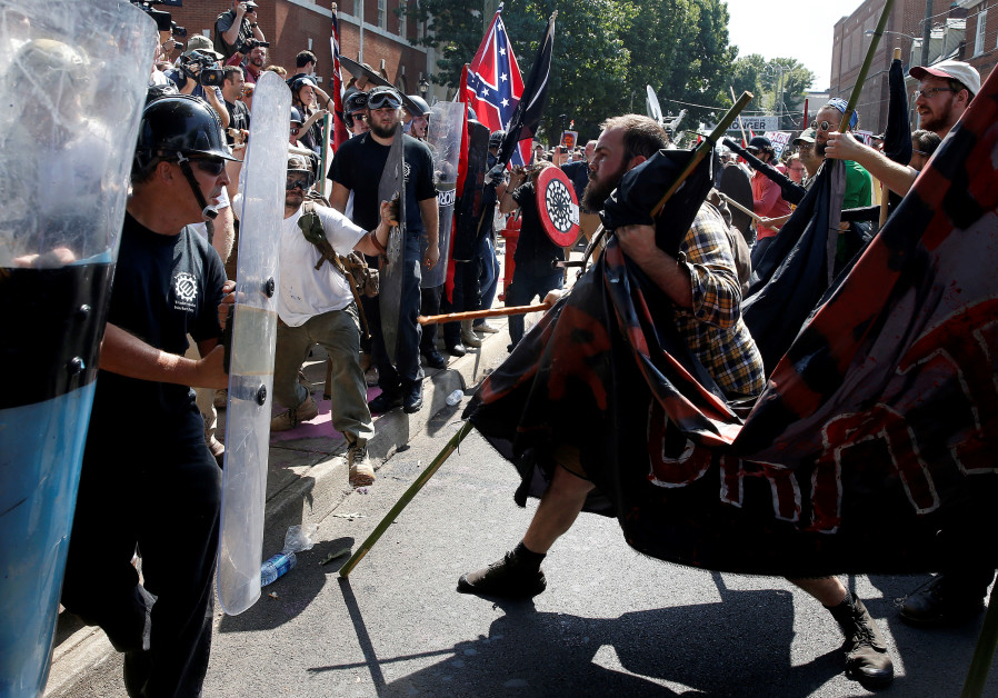 White supremacists clash with counter protesters at a rally in Charlottesville, Virginia, U.S., Augu
