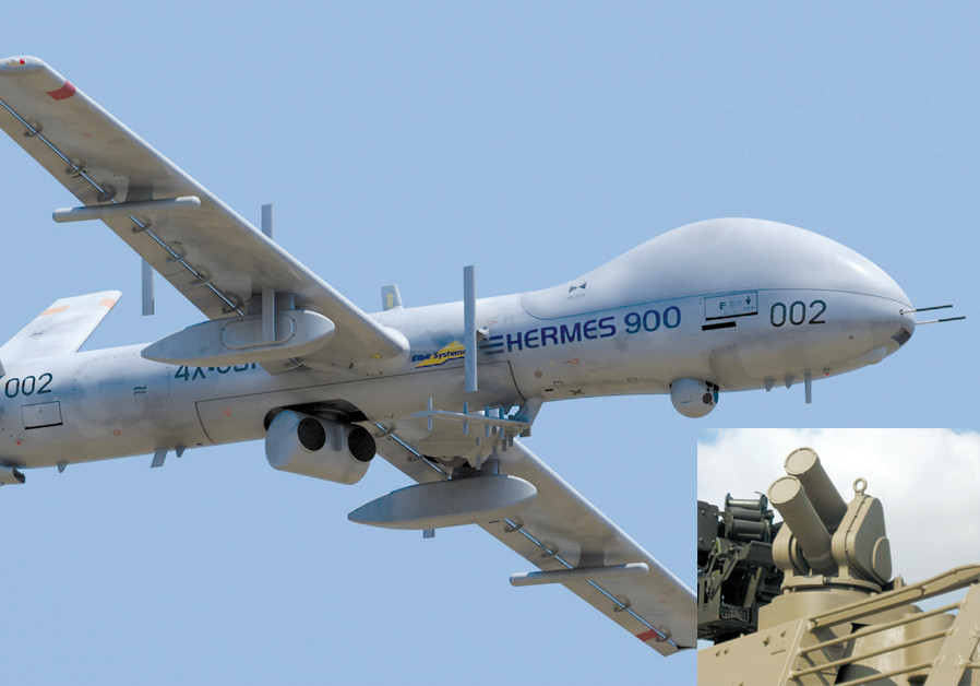 ELBIT SYSTEMS Hermes 900 Unmanned Aircraft System and (inset) the Iron Fist active protection system, a hard-kill system designed by Israel Military Industries (IMI) that defends armored vehicles. (Credit: ELBIT SYSTEMS)