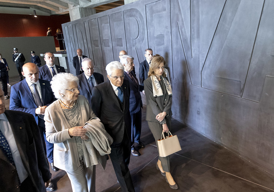 President of Italy Sergio Mattarella visits the Holocaust Memorial in Milan.