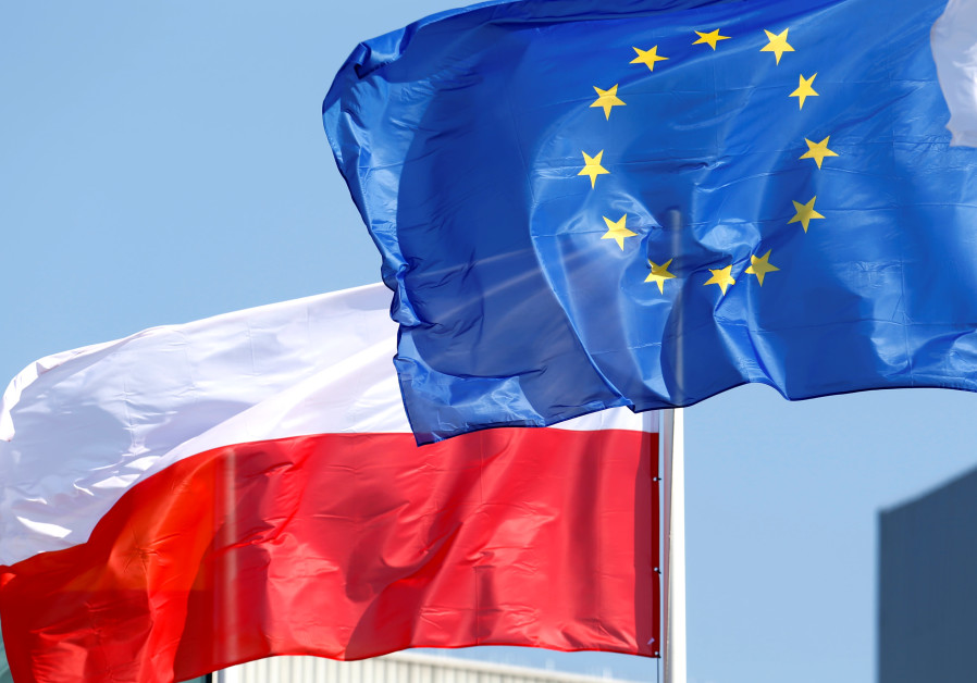 European Union and Poland's flags flutter