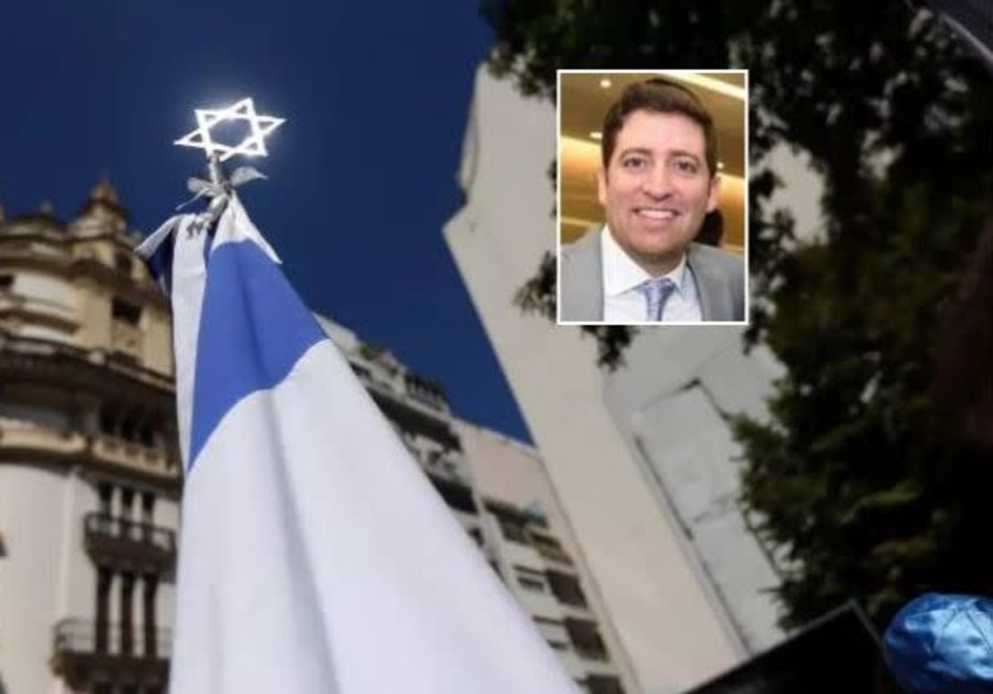 A Star of David outside the former Israeli embassy in Buenos Aires. Inset: Rabbi Elyahu Shaman