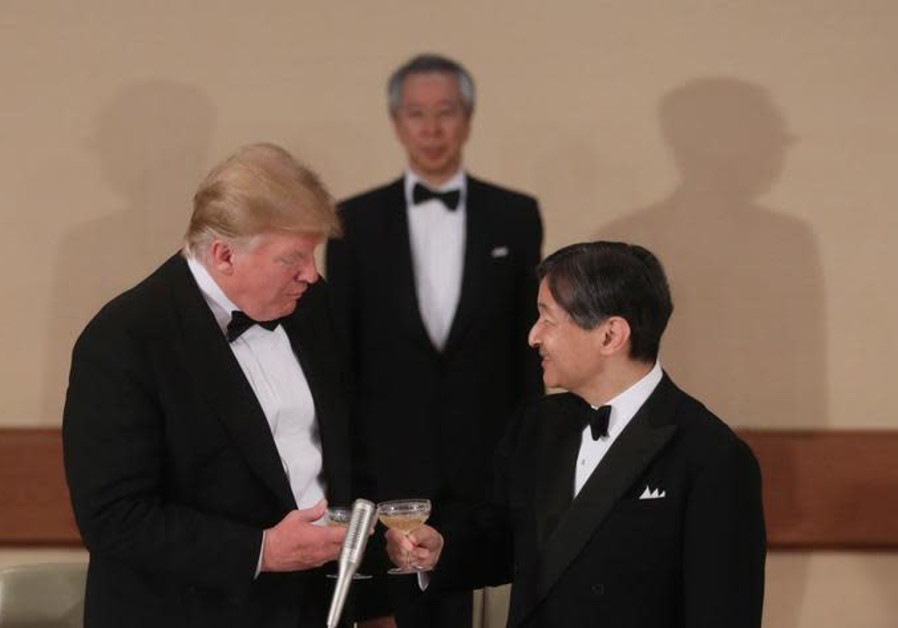 U.S. President Donald Trump toasts with Japan's Emperor Naruhito