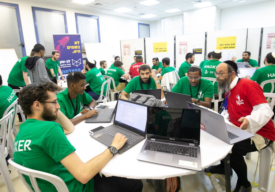 Jerusalem College of Technology students at work during the May 2019 hackathon. Credit: Michael Erenburg
