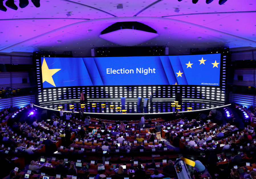 The Plenary Hall during the election night for European elections at the European Parliament