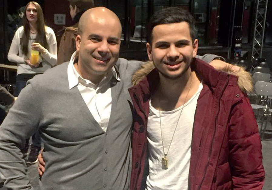 Shalicar with Ciprian Gadea, who played the role of 'Arye Shalicar' in Lukacevic's theater play in 2016 at Arye's former high school