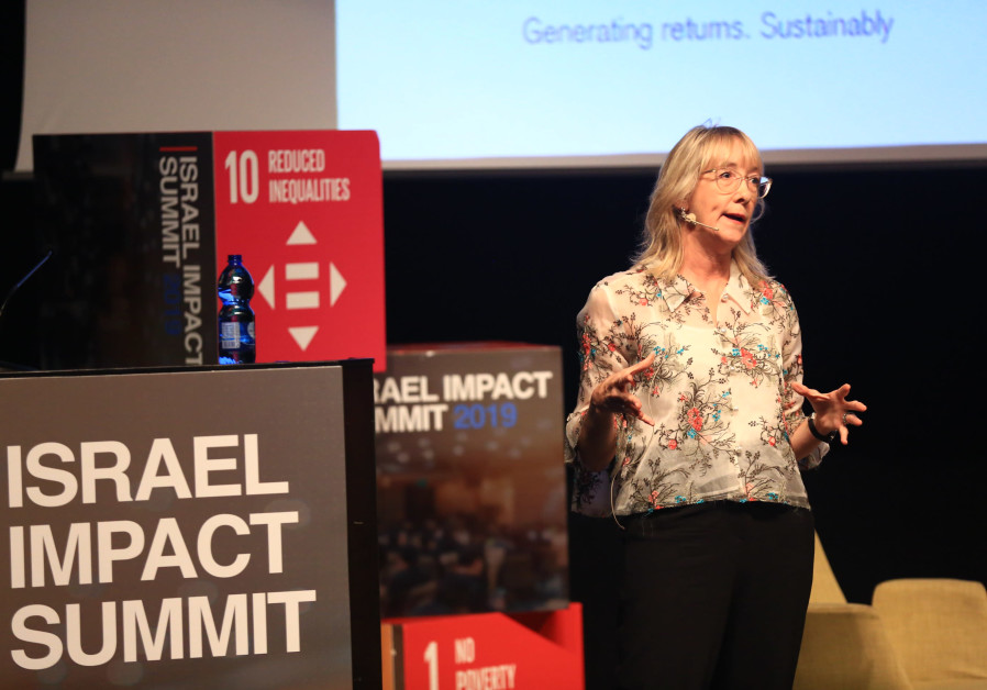 Marisa Drew, CEO Impact Advisory and Finance at Credit Suisse addresses the Israel Impact Summit, M