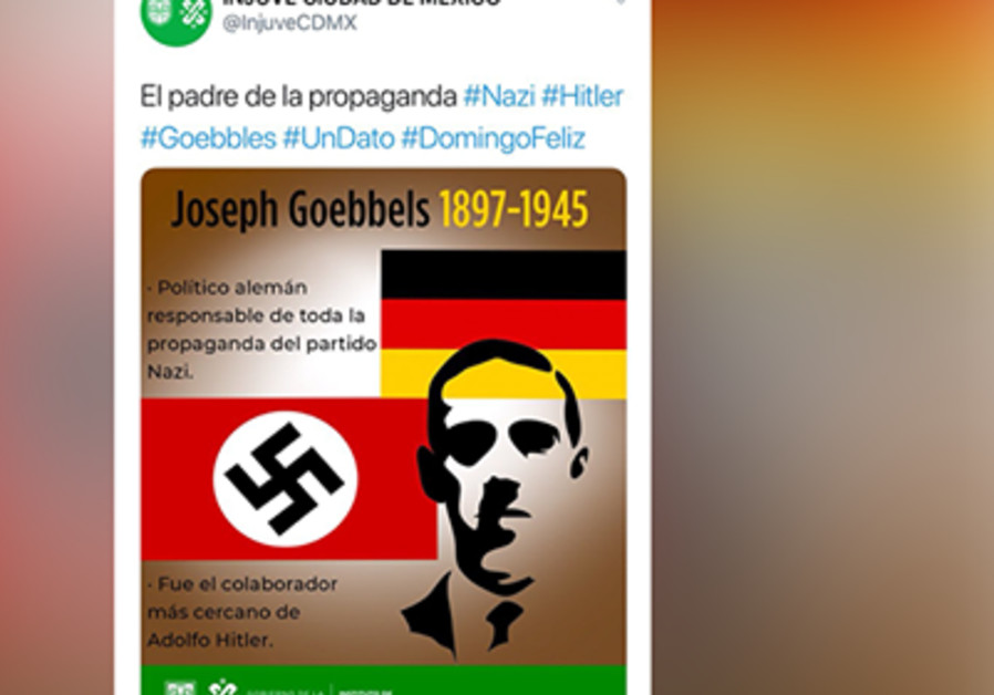Mexico City's youth department tweet featuring Joseph Goebbels