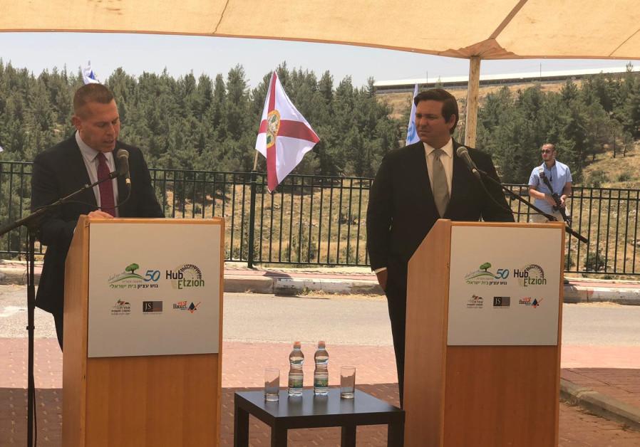 Florida Governor Ron DeSantis and Strategic Affairs Minister Gilad Erdan visit the Gush Etzion regio