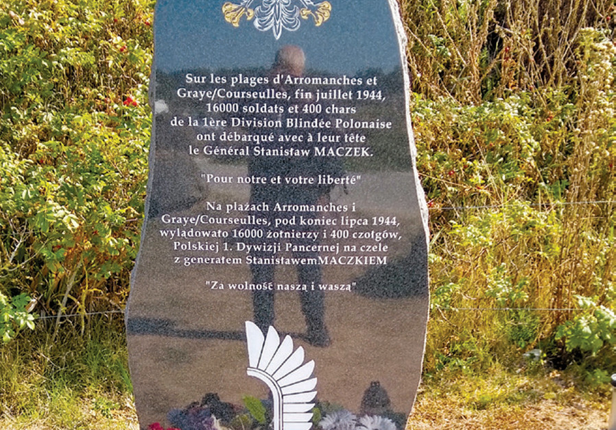 A MONUMENT to the 16,000 Polish soldiers and 400 tanks from the First Armored Division of Poland, which landed at the end of July 1944. (Credit: BRIAN JABLON)