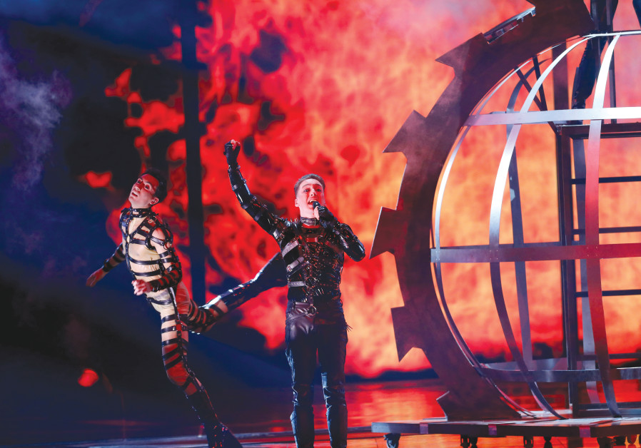 ICELAND'S HATARI sings 'Hate Will Prevail' at the Eurovision Song Contest in Tel Aviv earlier this m