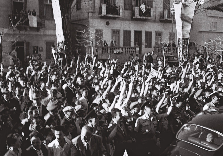 CHEERING THE creation of Israel in 1948.