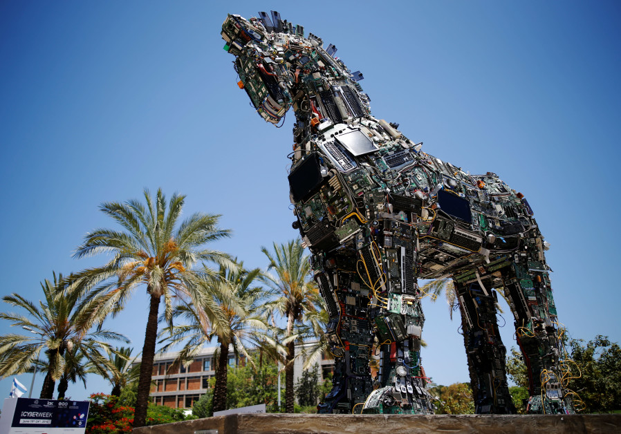 "A ""Cyber Horse"", made from thousands of infected computer and cell phone bits, TAU."