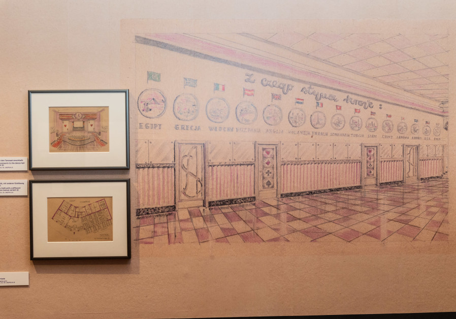 """Simon Wiesenthal drawings in  """"Café As"""" at the Jewish Museum Vienna."""