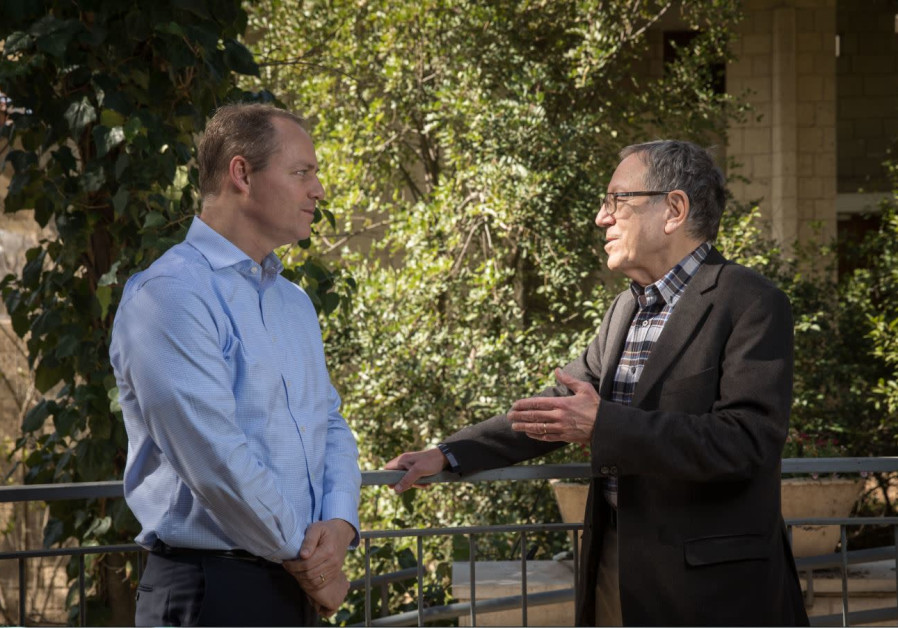 Yohanan Plesner and Irwin Cotler at the Israel Democracy Institute