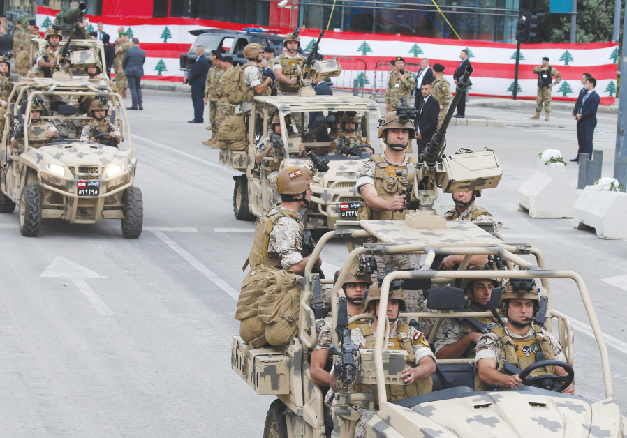 LEBANESE SOLDIERS taking part in a parade.