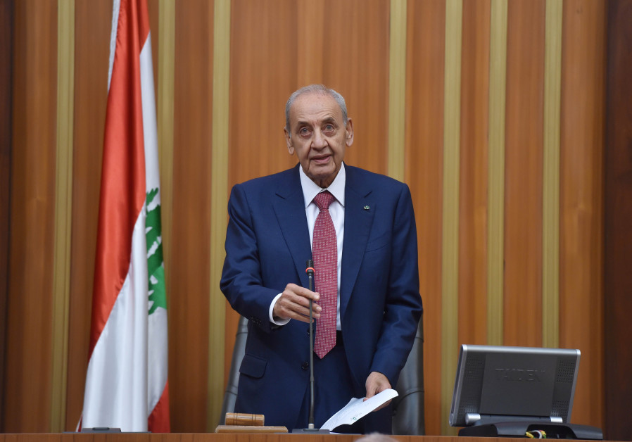 Nabih Berri, speaks after he was re-elected Lebanon's parliamentary speaker, as Lebanon's newly elec