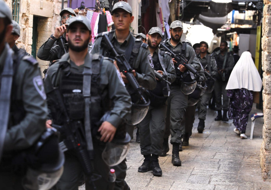 Israeli police patrol in the Old City during Jerusalem Day, 2019