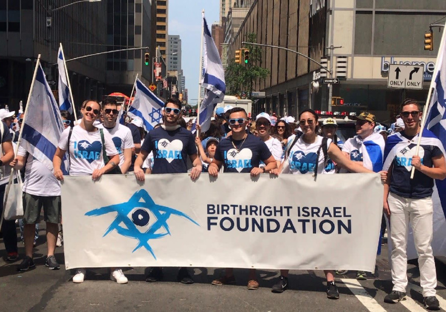 Birthright Israel members attend the Celebrate Israel Parade in New York City, 2019.