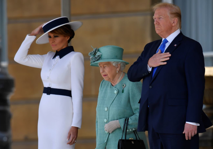Image result for images of Trump, Melania, Queen in June 2019
