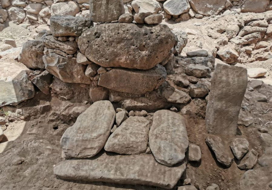 Ancient Geshurian stone relief of moon-god found in Golan