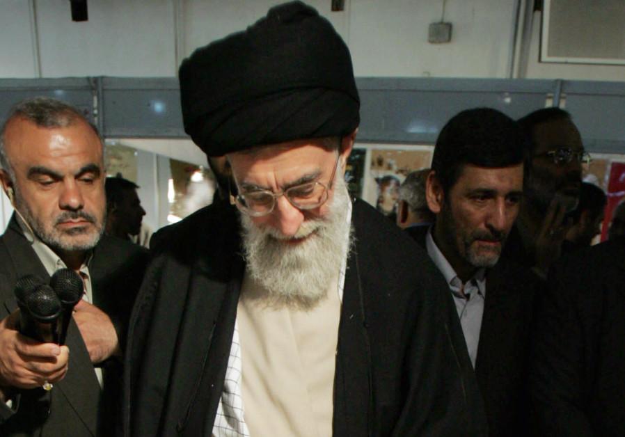 Iran's supreme leader Ayatollah Khamenei views bookstand in Tehran