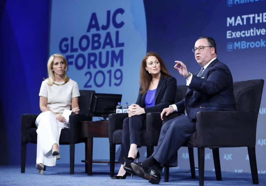 Matthew Brooks (R) and Halie Soifer (C) speaking at AJC's global forum plenary session, June 2019. (photo credit: Martin Simon)
