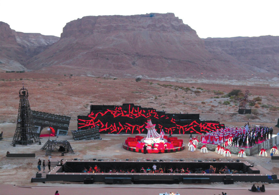 'LA TRAVIATA,' rehearsal on Masada. (Credit: LUIGI SCOGLIO)