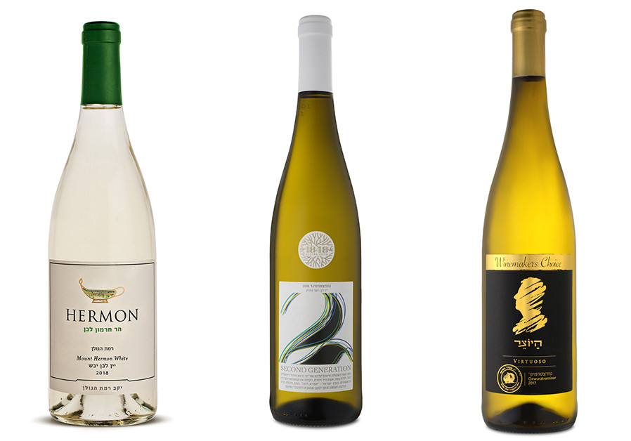 GOLAN HEIGHTS, MOUNT HERMON WHITE 2018 / 1848 SECOND GENERATION GEWÜRZTRAMINER 2018 / HAYOTZER VIRTUOSO GEWÜRZTRAMINER 2017 (Credit: Courtesy)