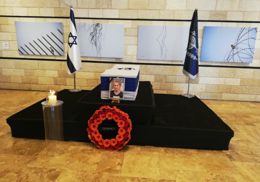 The coffin of first lady Nechama Rivlin lies at the Jerusalem Theater, June 5, 2019.