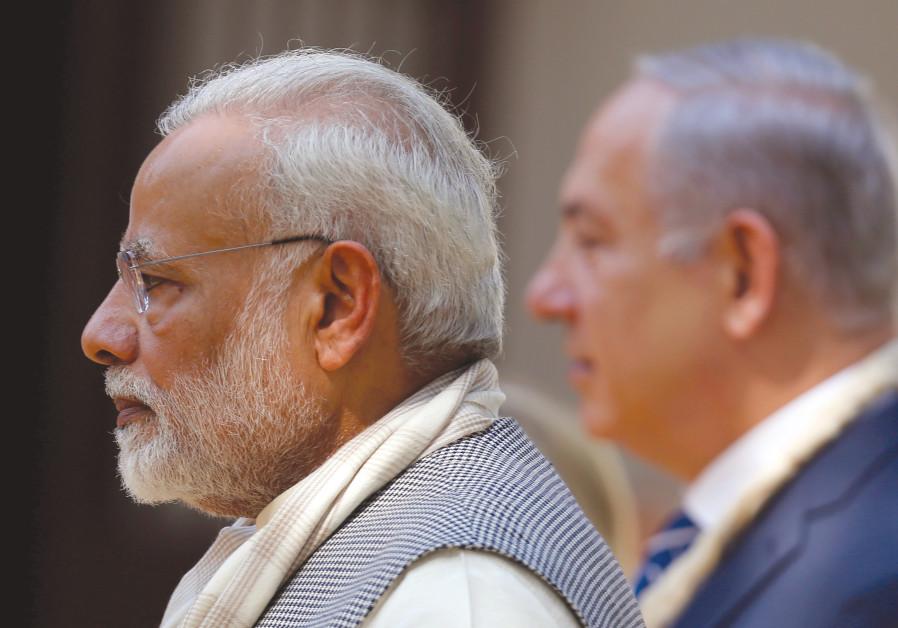INDIAN PRIME MINISTER Narendra Modi and Prime Minister Benjamin Netanyahu meet last year.