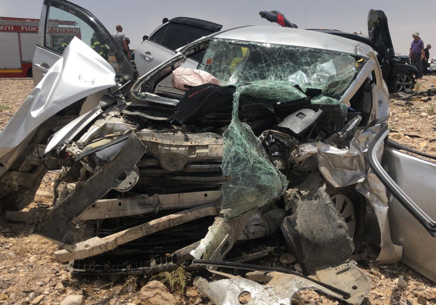 Remnants of a car involved in a car accident in the Arava where two children died
