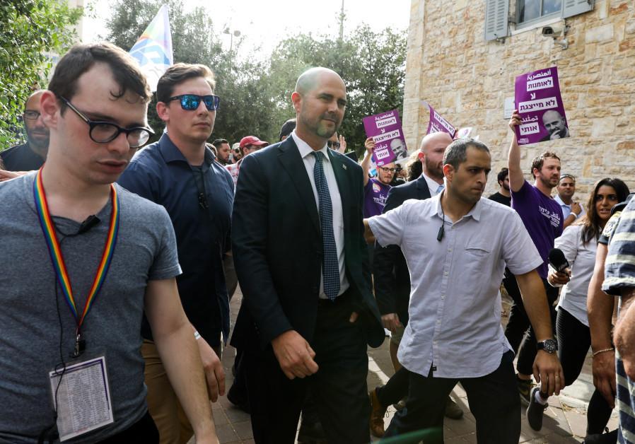 Likud MK Amir Ohana attends the Pride parade in Jerusalem, June 6, 2019