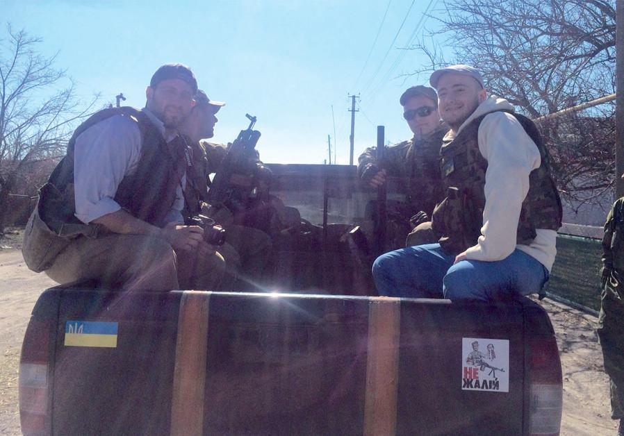 Sam Sokol joins a patrol in the Ukrainian village of Chermalyk (Credit: Courtesy)