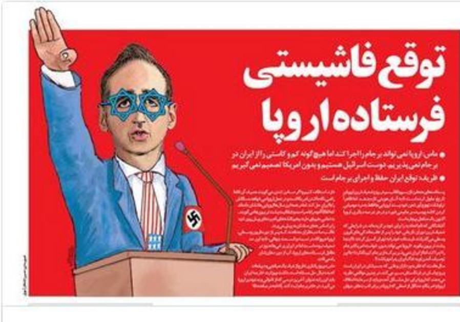 Iranian regime paper prints cartoon of German FM as 'Zionist Nazi'