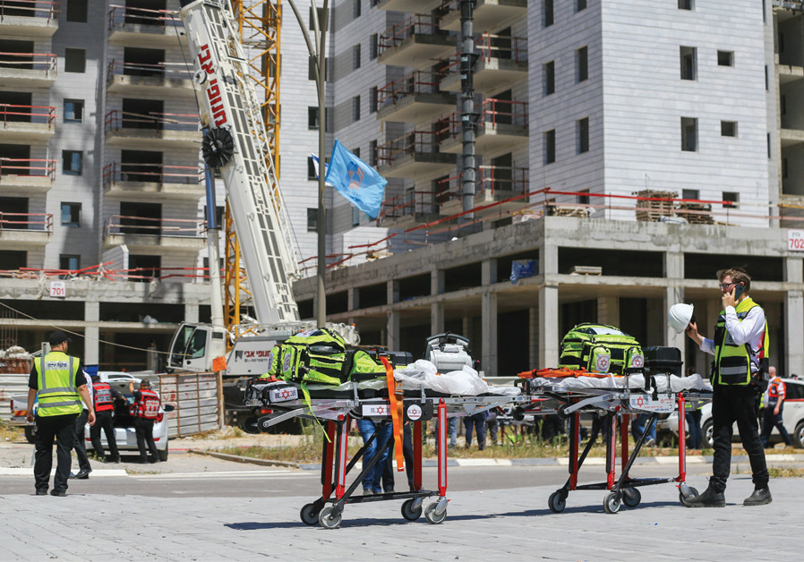 THE YAVNE construction site where a crane collapsed, killing four people and injuring one more, on May 19. (Credit: FLASH90)