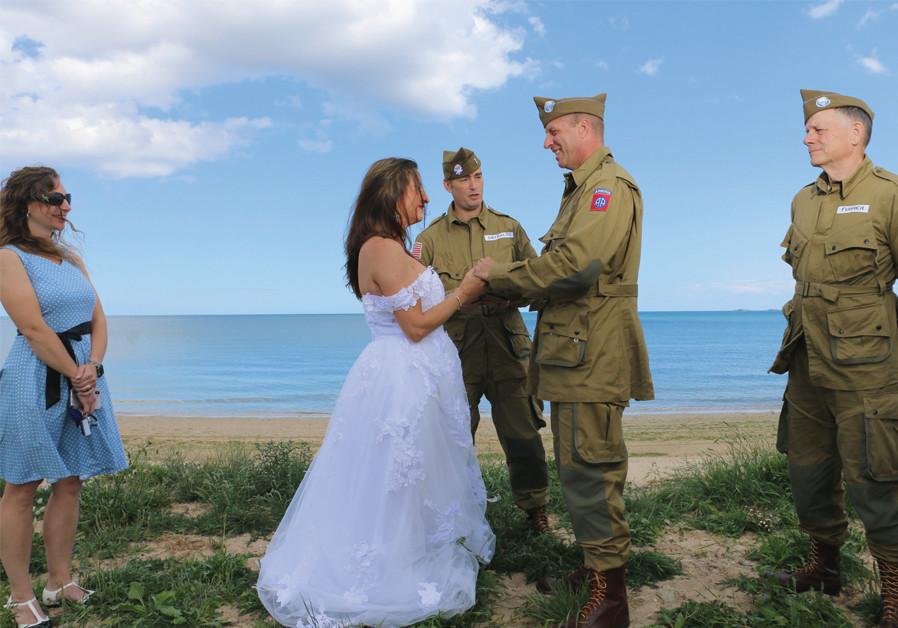 BRANDI AND Patrick Armitage get married on Utah Beach on June 6. (Credit: MARK GRANAT)