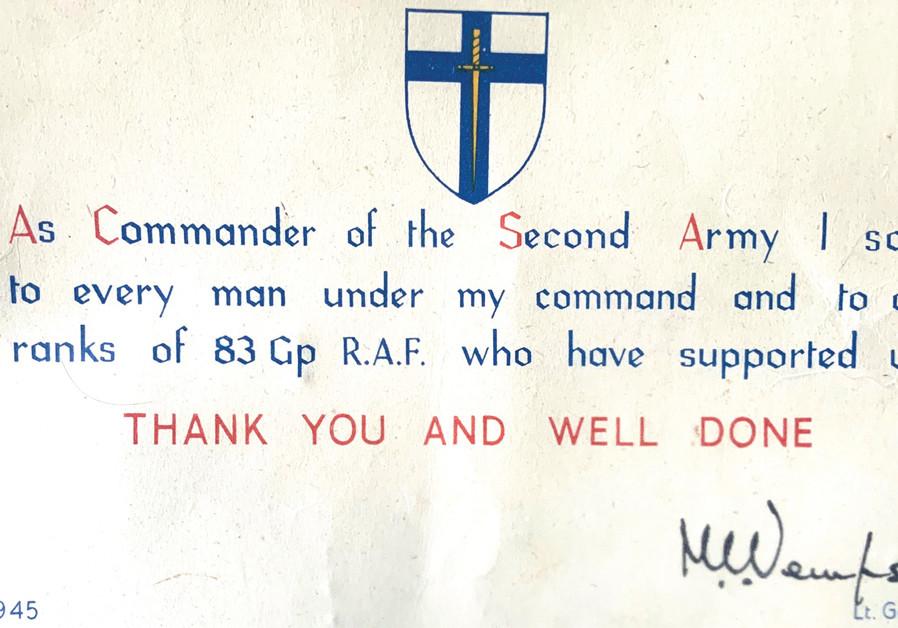 CERTIFICATE OF appreciation from Gen. Miles Dempsey. (Credit: ALAN ROSENBAUM)