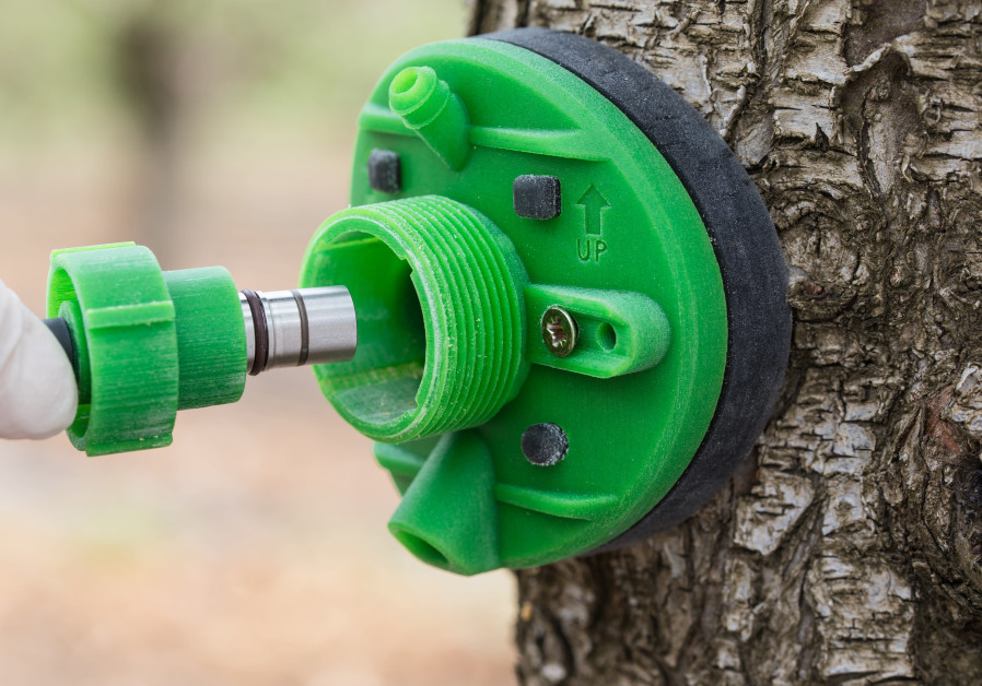 Saturas' miniature sensor being embedded in tree trunk.