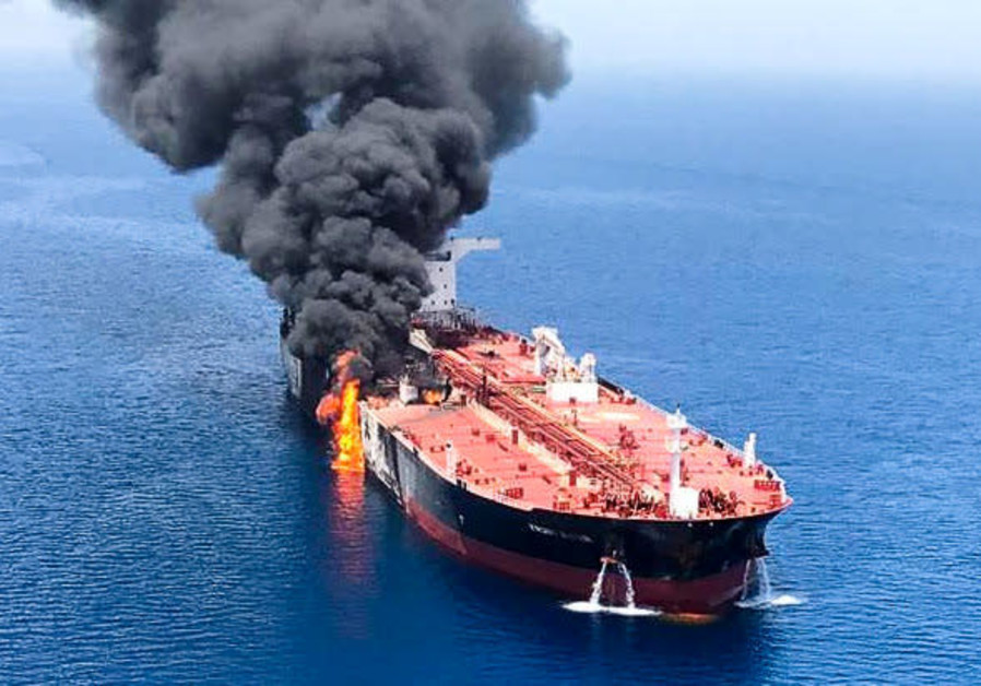 An oil tanker is seen after it was attacked at the Gulf of Oman, June 13, 2019