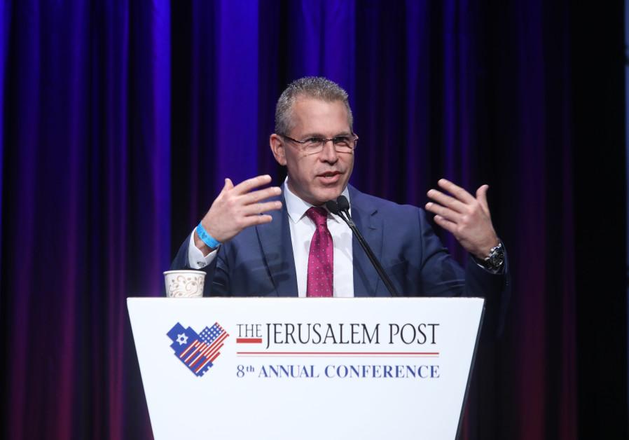 Minister Gilad Erdan speaks at the Jerusalem Post Conference
