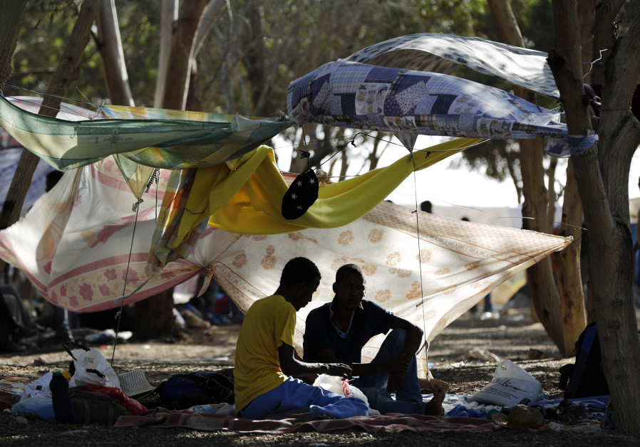 African asylum seekers gather in the shade of trees during a protest in southern Israel's Negev