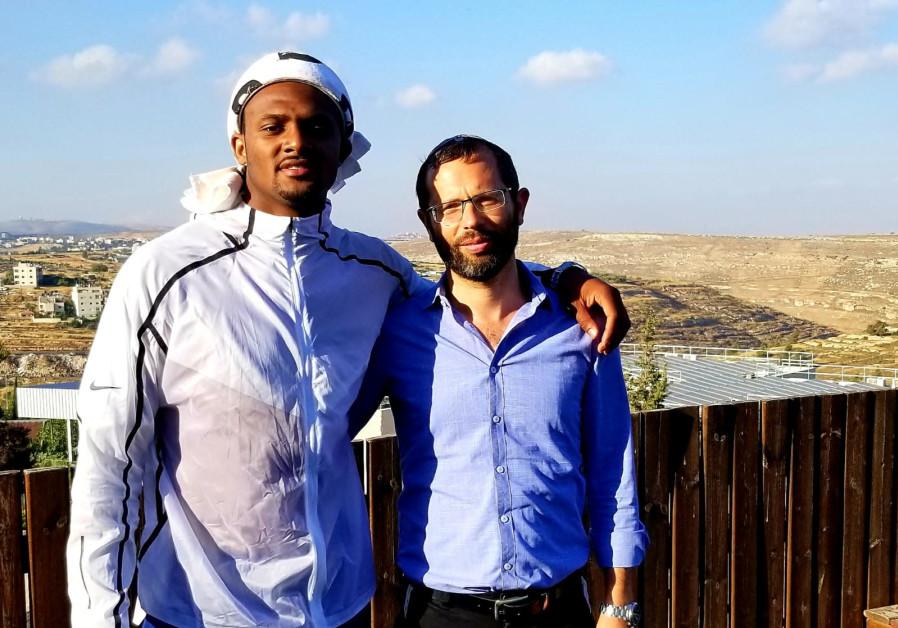 NFL star Deshaun Watson with Head of the Binyamin Council Israel Gantz