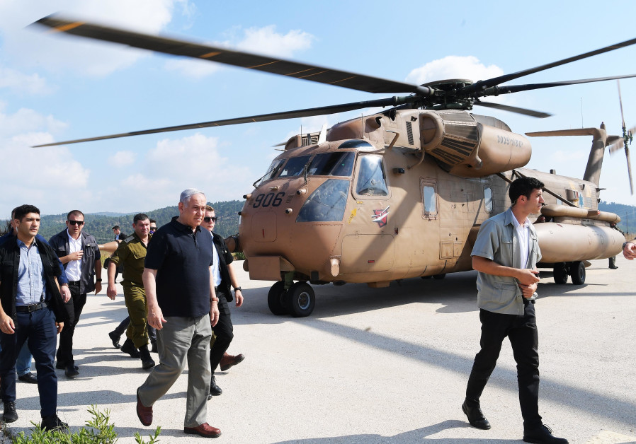 Prime Minister Benjamin Netanyahu at an army exercise in the north on June 19th, 2019