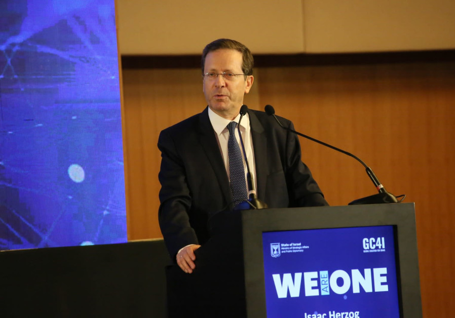Jewish Agency chairman Isaac Herzog speaks at the GC4I conference in Jerusalem, June 19